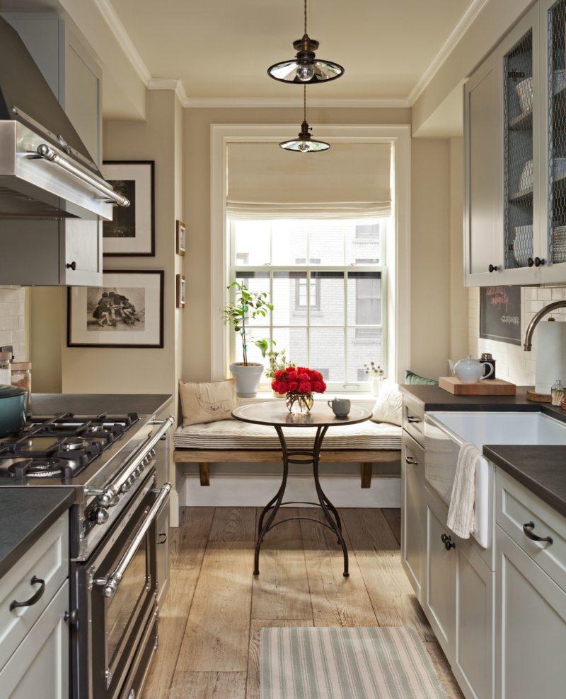 Дизайн узкой кухни (65)