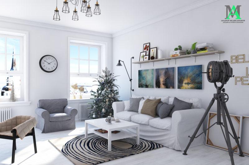 Гостиная в скандинавском стиле (10)