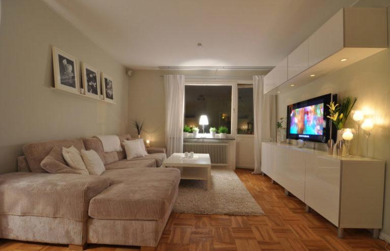 Дизайн интерьера гостиной в бежевых тонах