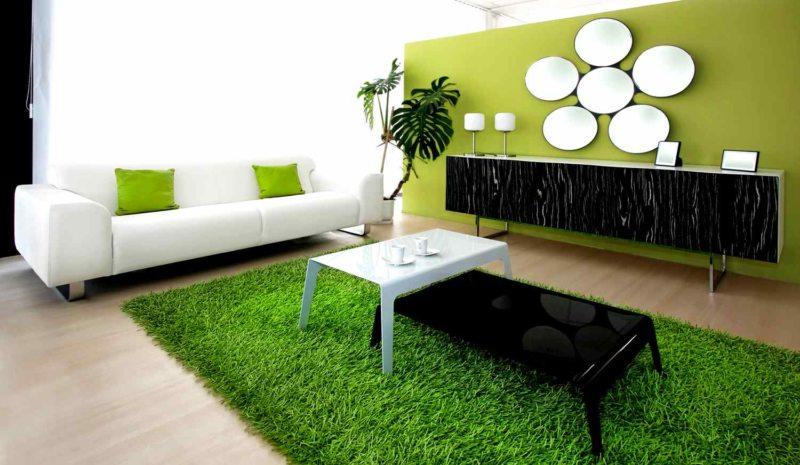 Interior shot of contemporary green living room