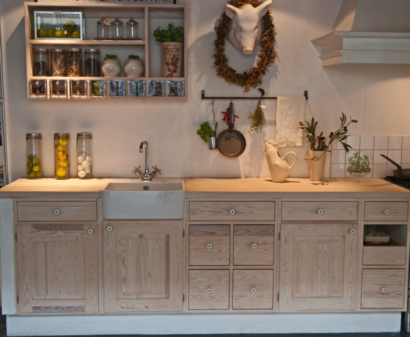 Modern neo classical design decorated wooden country style kitchen