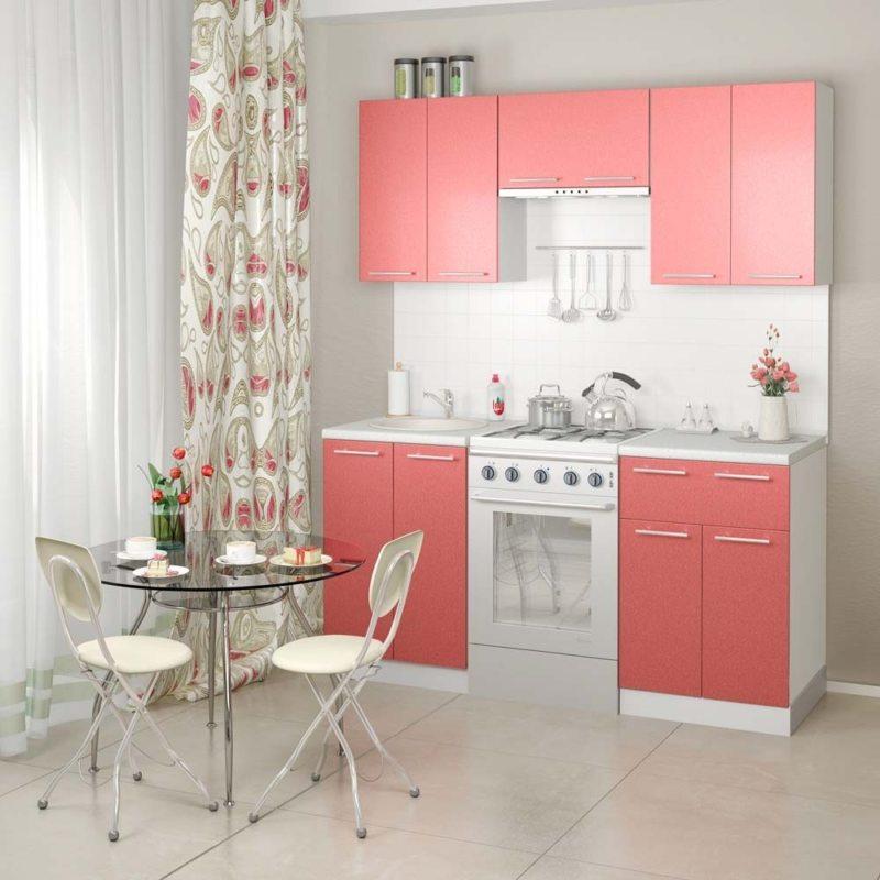 Кухня в бело розовом цвете