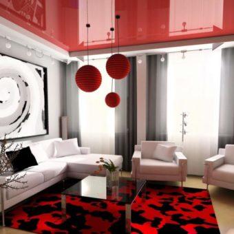 Натяжные потолки в гостиной — 80 фото необычного дизайна в современном стиле