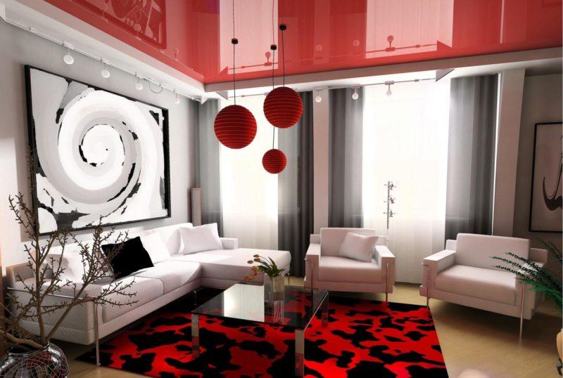 Натяжные потолки в гостиной (13)