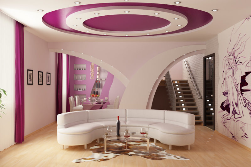 Натяжные потолки в гостиной (20)