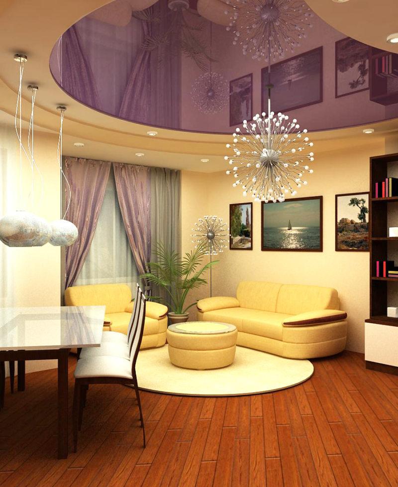 Натяжные потолки в гостиной (24)