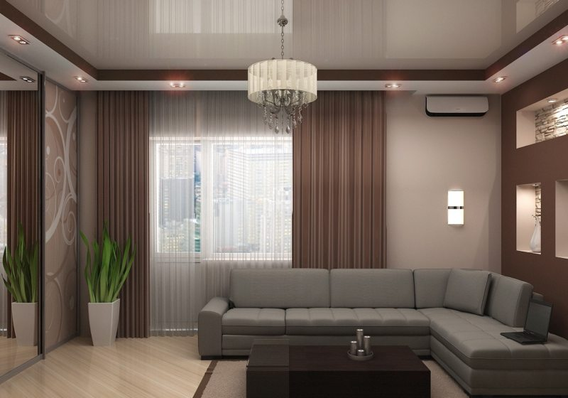 Натяжные потолки в гостиной (25)
