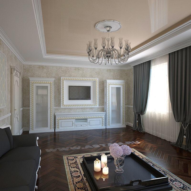 Натяжные потолки в гостиной (26)