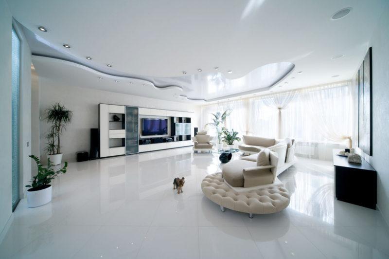 Натяжные потолки в гостиной (29)