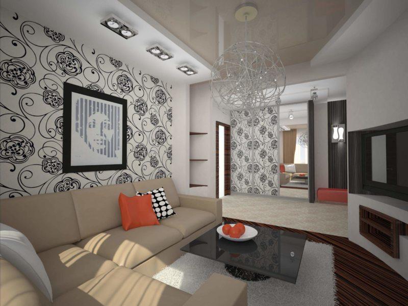 Натяжные потолки в гостиной (3)