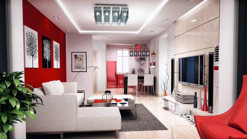 Натяжные потолки в гостиной (31)