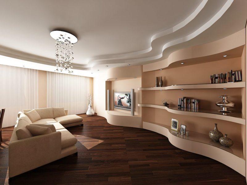 Натяжные потолки в гостиной (35)