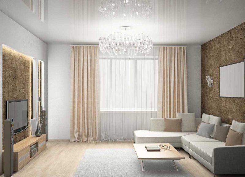 Натяжные потолки в гостиной (36)