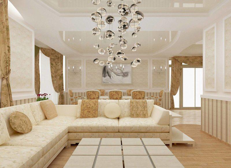 Натяжные потолки в гостиной (41)