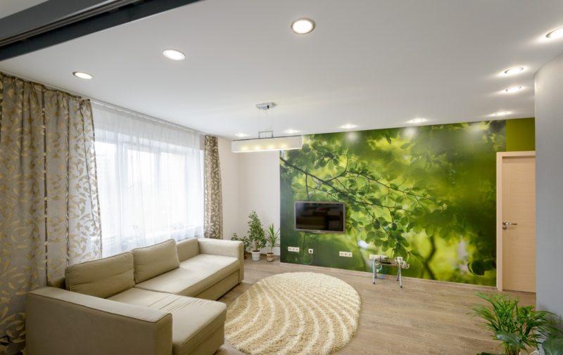 Натяжные потолки в гостиной (49)
