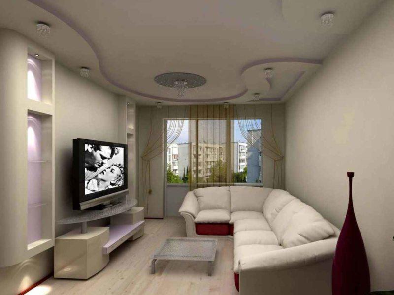 Натяжные потолки в гостиной (51)