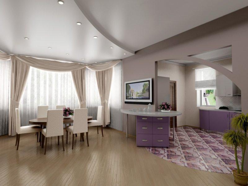 Натяжные потолки в гостиной (53)