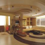 Натяжные потолки в гостиной (54)