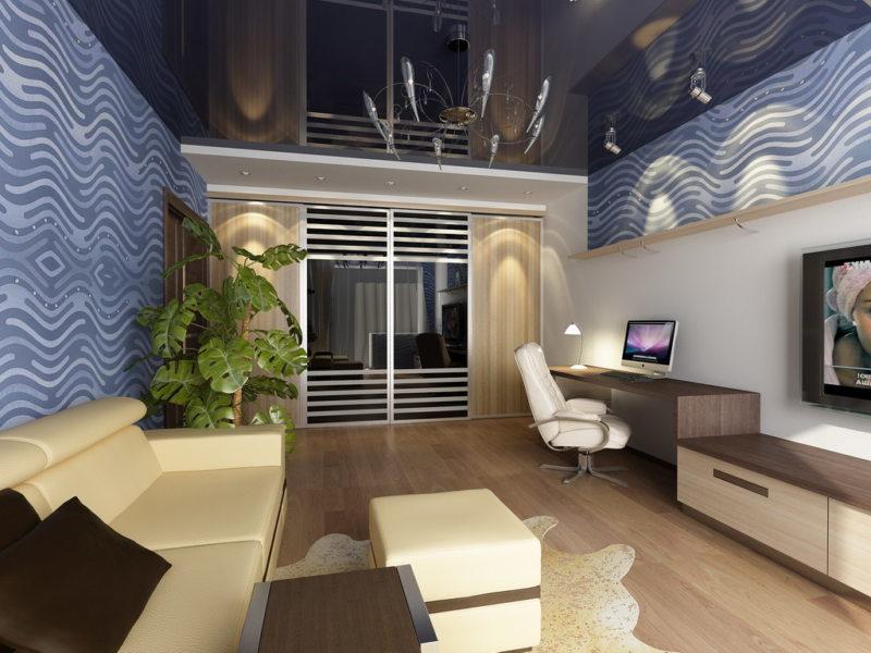 Натяжные потолки в гостиной (56)