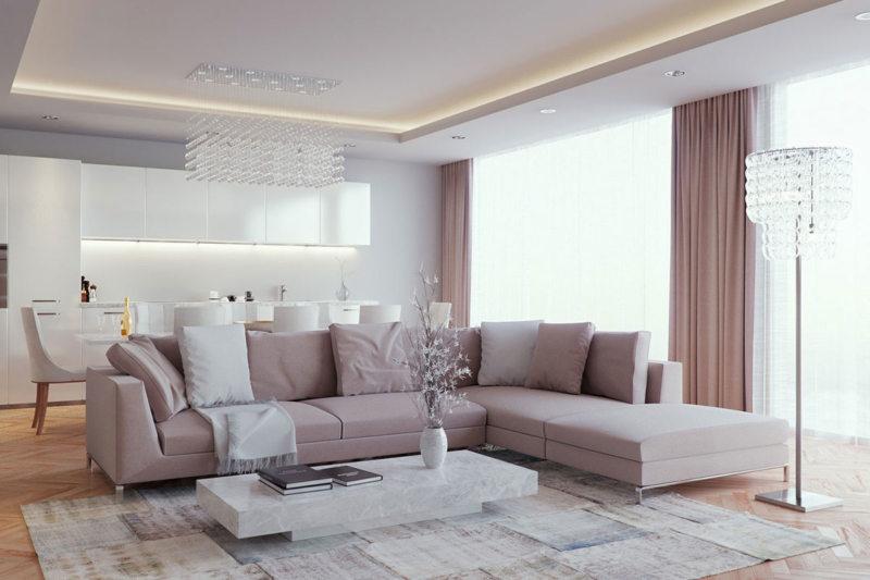 Натяжные потолки в гостиной (59)