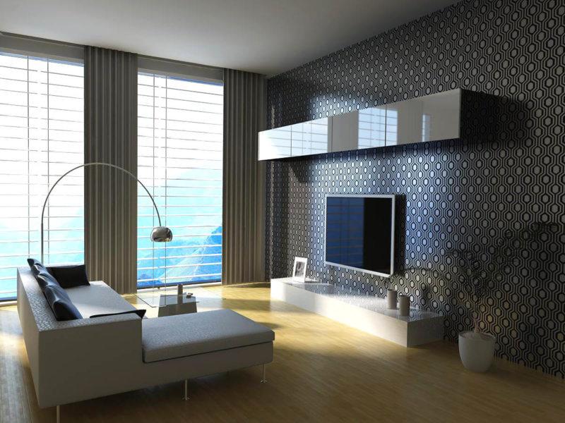 Натяжные потолки в гостиной (60)