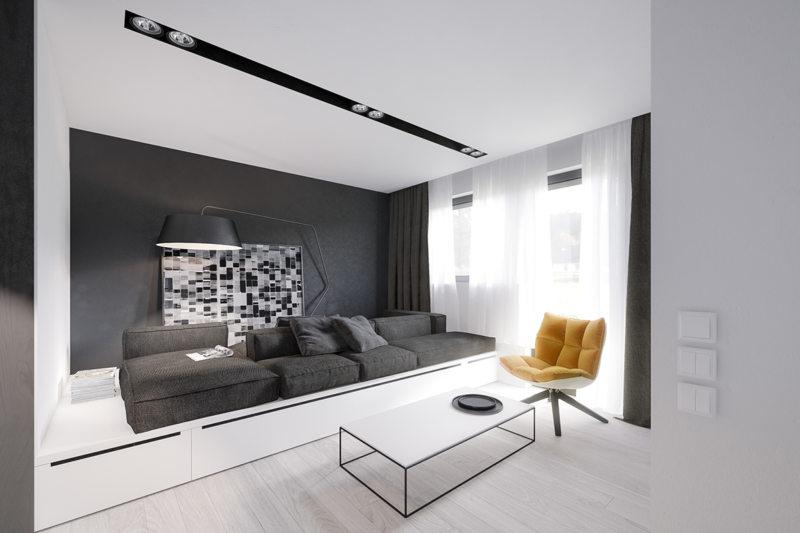 бело-черной гостиной