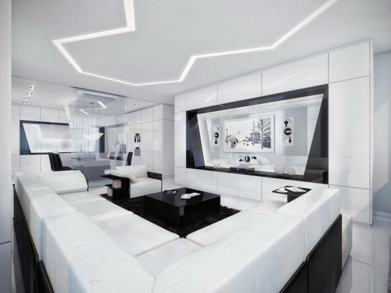 гостиная в стиле хай тек (54)