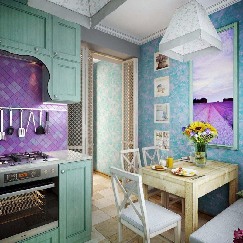 кухня бирюзового цвета (7)