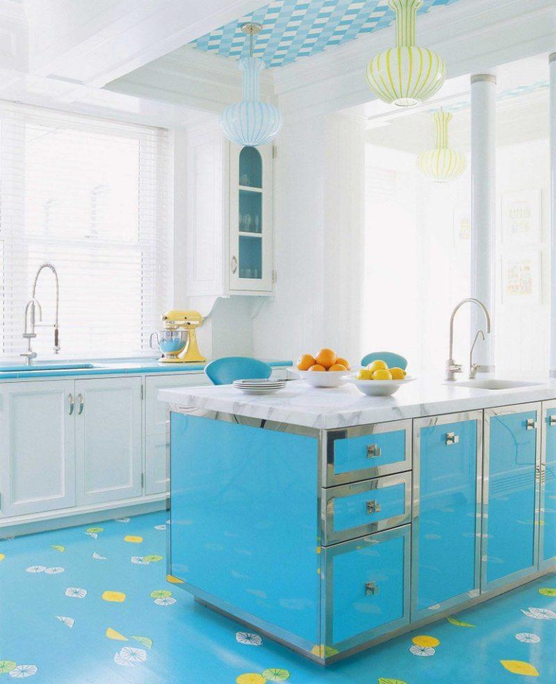 кухня бирюзового цвета (8)