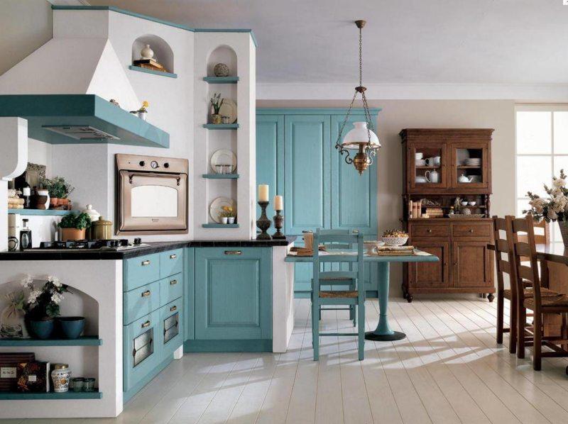 кухня бирюзового цвета (9)