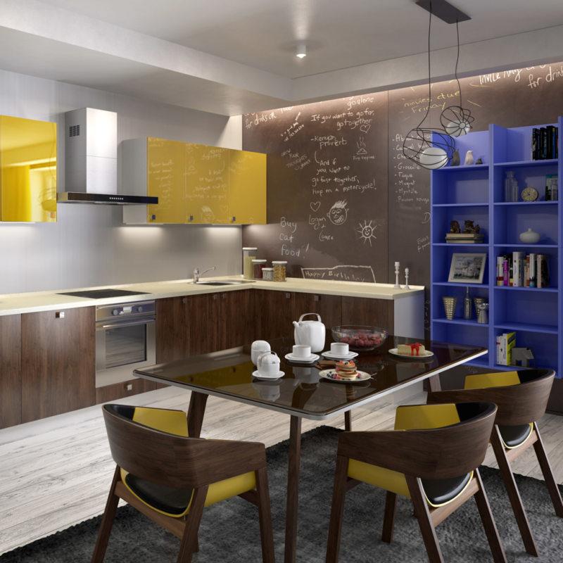 кухня лимонного цвета (12)