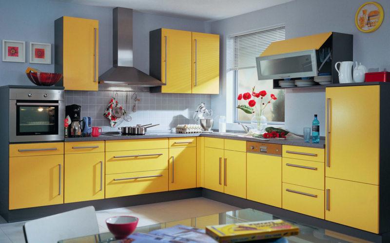 кухня лимонного цвета (15)