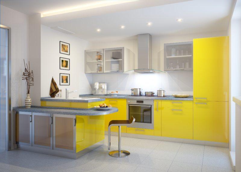 кухня лимонного цвета (30)
