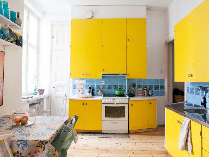 кухня лимонного цвета (32)