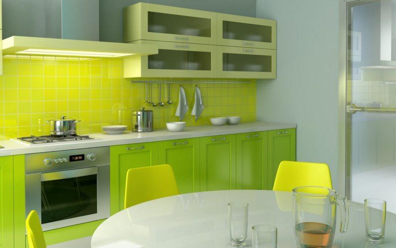 кухня лимонного цвета (35)