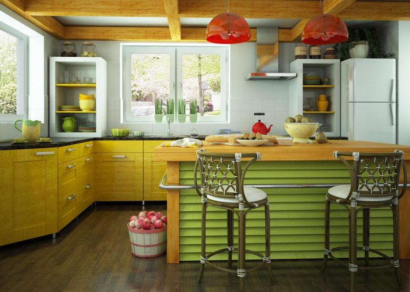 кухня лимонного цвета (37)