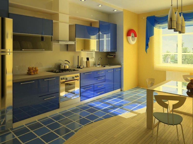 кухня лимонного цвета (40)