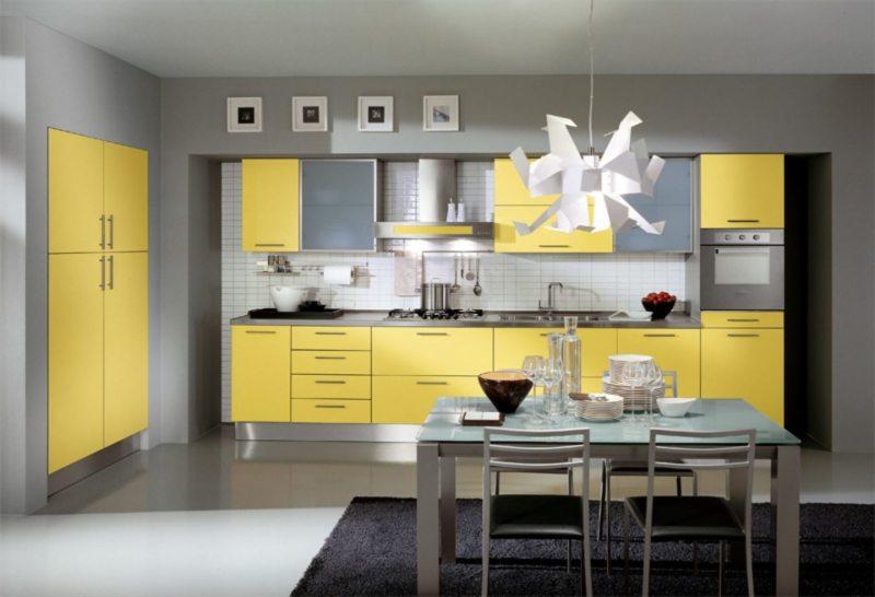 кухня лимонного цвета (41)