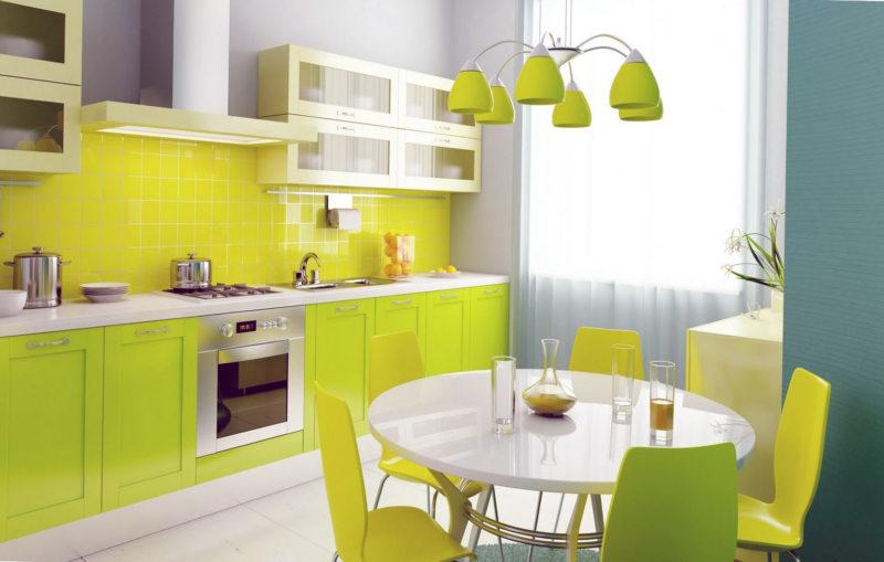 кухня лимонного цвета (42)