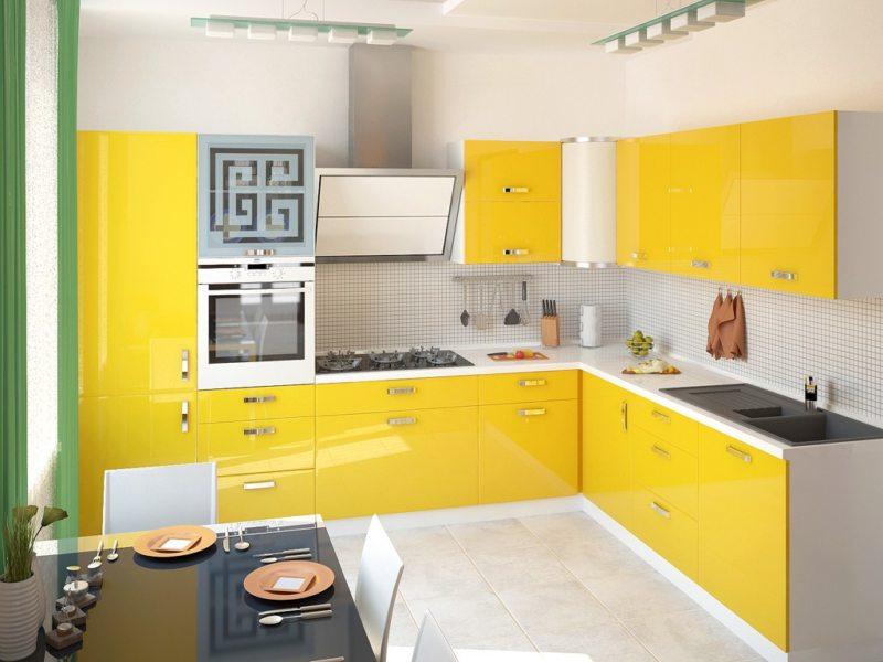 кухня лимонного цвета (43)