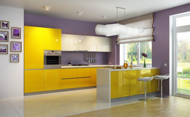кухня лимонного цвета (44)