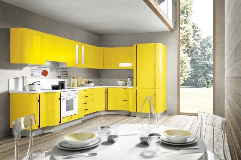 кухня лимонного цвета (45)