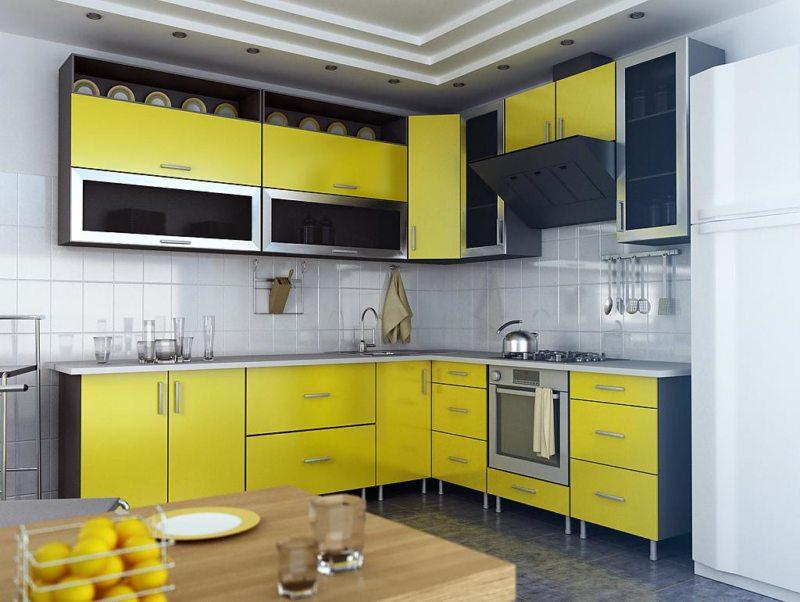 кухня лимонного цвета (46)