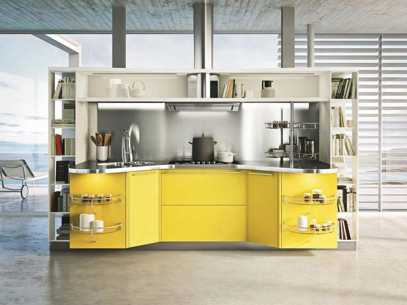 кухня лимонного цвета (47)