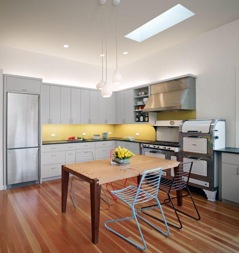 кухня лимонного цвета (48)