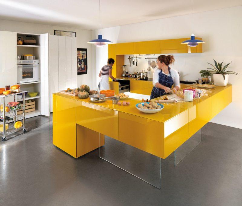 кухня лимонного цвета (50)