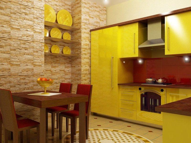 кухня лимонного цвета (52)