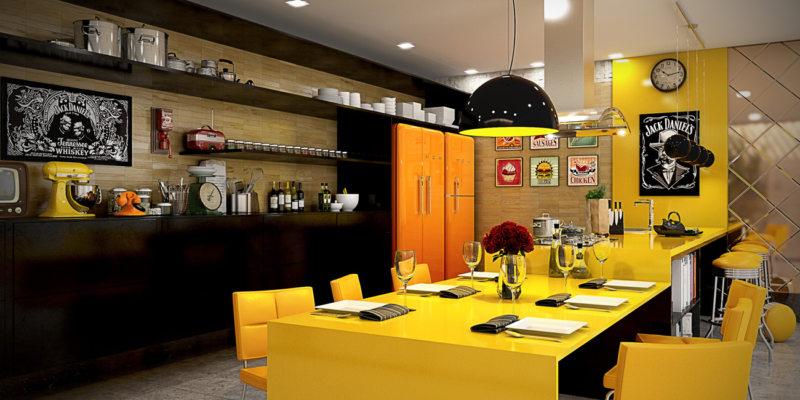 кухня лимонного цвета (53)