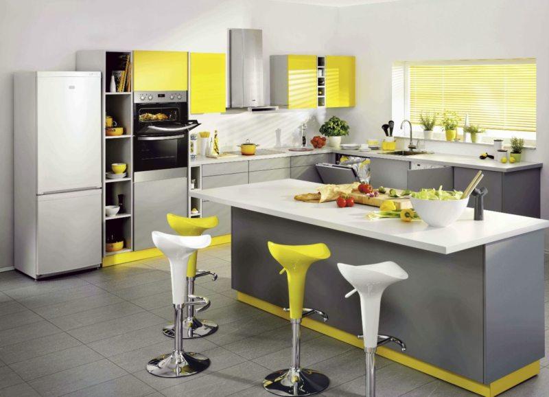 кухня лимонного цвета (9)