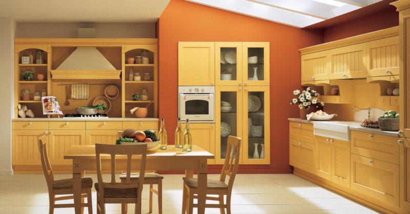 кухня персикового цвета (13)